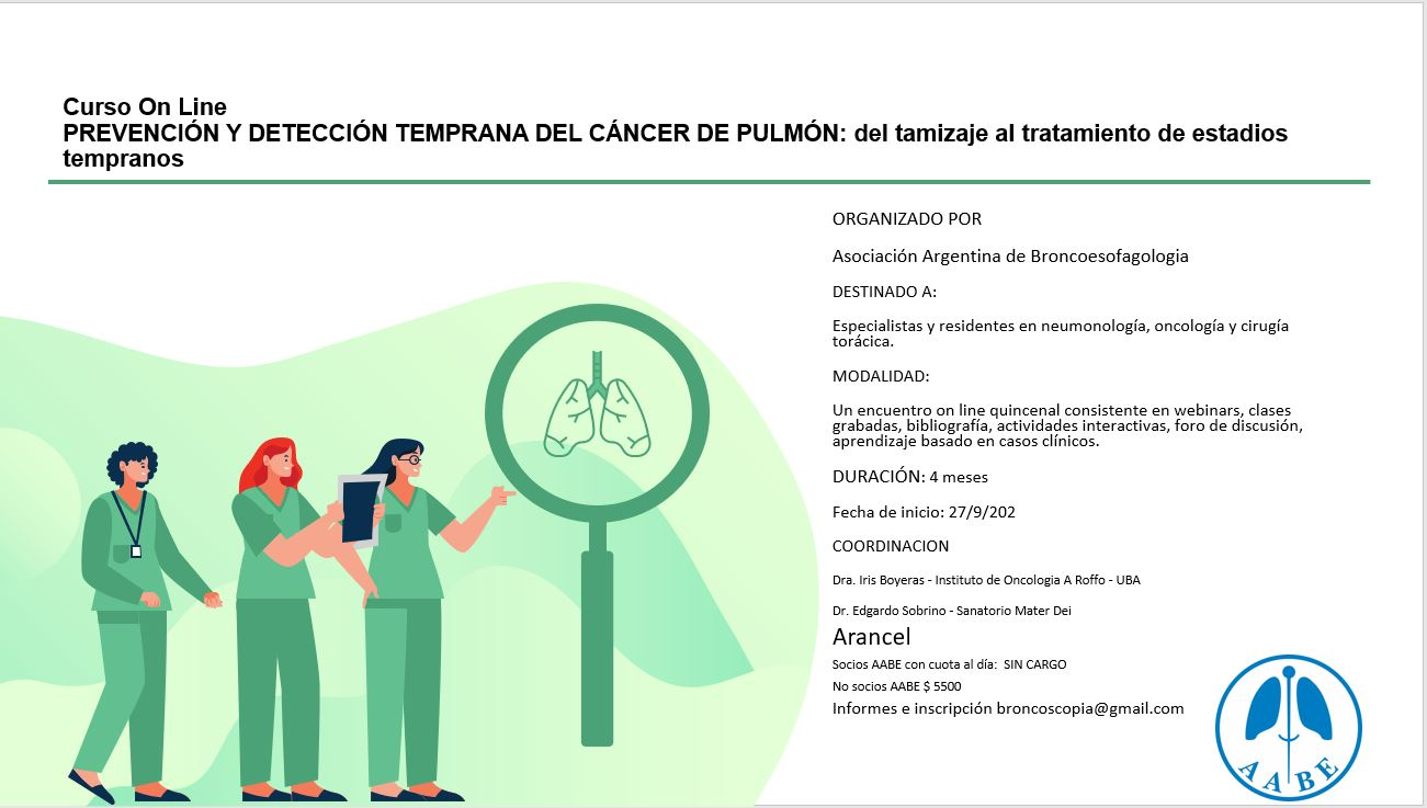 Curso online de prevención y detección temprana de cáncer de pulmón
