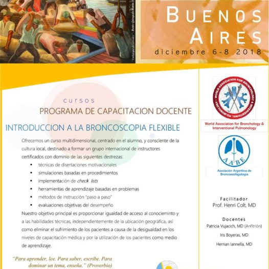 SAVE THE DATE: 08/12 CURSO DE INTRODUCCIÓN A LA BRONCOSCOPIA FLEXIBLE